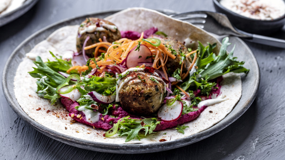 Falafel wrap with beetroot hummus align with the EAT-Lancet Planetary Health Diet