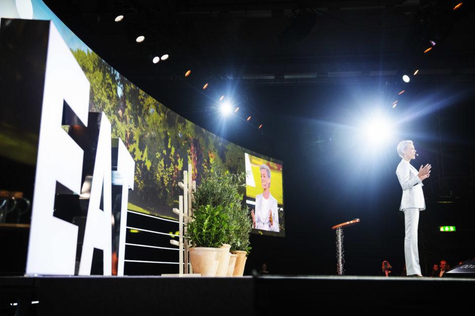 Gunhild Stordalen on stage speaking at Stockholm Food Forum 2018