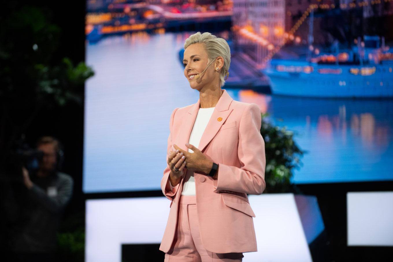 Gunhild Stordalen on stage at Stockholm Food Forum