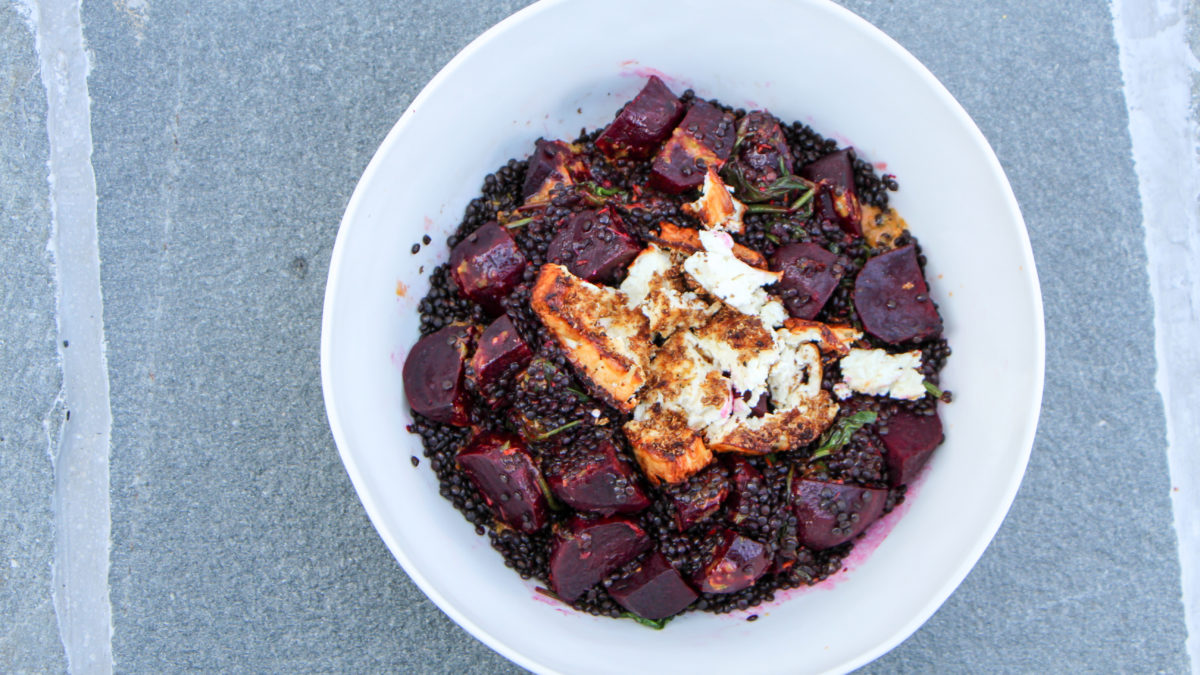 Beluga lentils with oven roasted beets in a dish