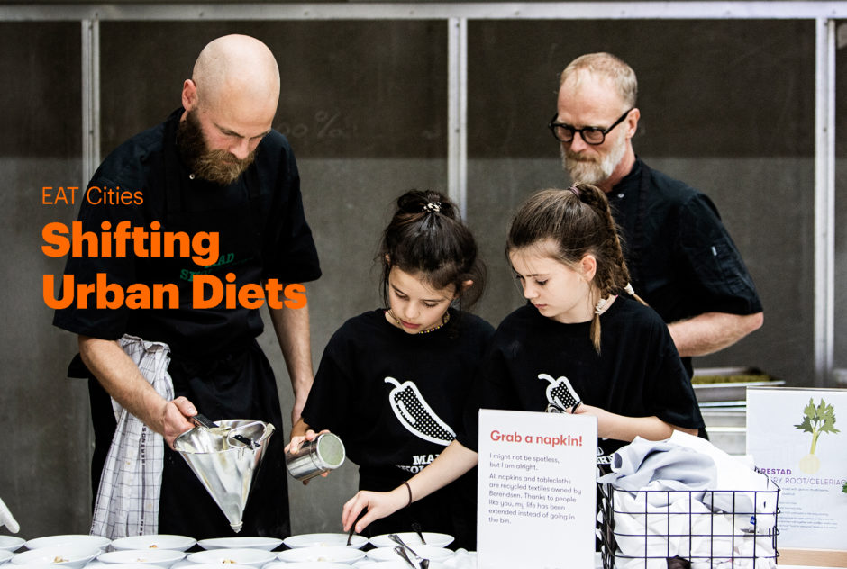 EAT Cities, Shifting Urban Diets Initiative. Chefs and children cooking food in a kitchen.