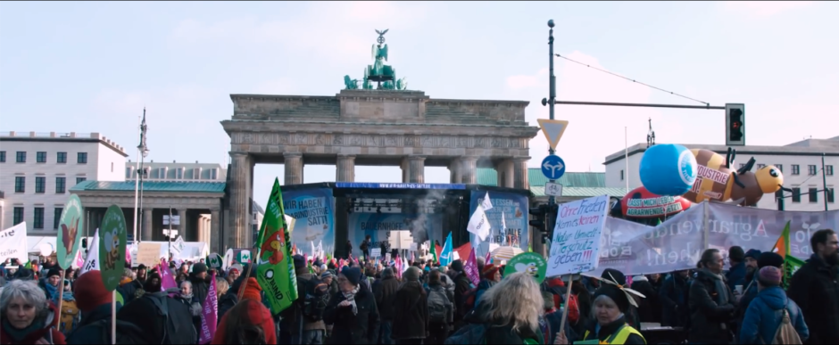 A still from the WEUNITE short film show the We Are Fed Up demonstration in Berlin.
