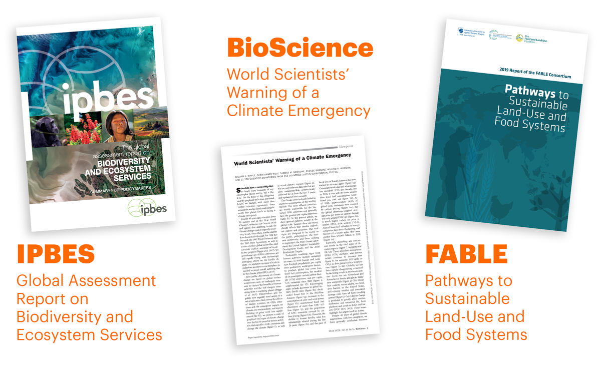 Report covers of IPBES, BioScience and Fable
